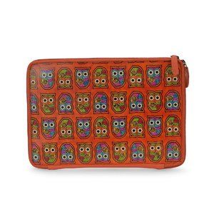 SUKRITI Orange, Multi Color Owl Leather Tablet cas